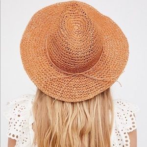 NWOT Free People Rusted Color Round Straw Hat